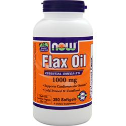 NOW Flax Oil (1000mg) - Certified Organic 250 sgels