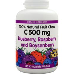 NATURAL FACTORS 100% Natural Fruit Chew C (500mg) Mixed Berries 180 wafrs