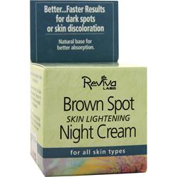 REVIVA LABS Brown Spot Skin Lightening Night Cream for All Skin Types 1.5 oz