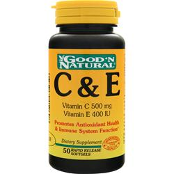 GOOD 'N NATURAL C (500mg)  & E (400IU) 50 sgels