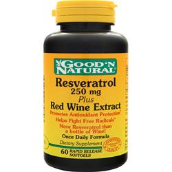 Good 'N Natural Resveratrol (250mg) Plus Red Wine Extract 60 sgels