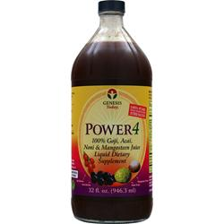GENESIS TODAY Power 4 100% Goji, Acai, Noni & Mangosteen Juice 32 fl.oz