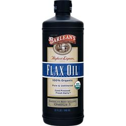 BARLEAN'S Highest Lignan Flax Oil Liquid - 100% Organic 32 fl.oz