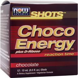 NOW Shots Choco Energy plus D-Ribose reaction time Chocolate 12 vials