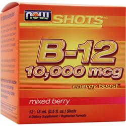 Now Shots B-12 (10,000mcg)  Energy Boost Mixed Berry 12 vials