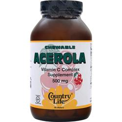COUNTRY LIFE Chewable Acerola - Vitamin C Complex (500mg) 90 wafrs