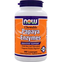 NOW Papaya Enzymes with Mint and Chlorophyll (Chewable) 360 lzngs
