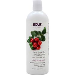 NOW Natural Shower and Bath Gel Tea Tree & Cranberry 16 fl.oz