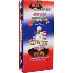 CHEF JAY'S Tri-O-Plex Skinny Dipped Bar USA Choc PB with Caramel 12 bars
