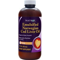 NATROL Emulsified Norwegian Cod Liver Oil Orange = 12 fl.oz