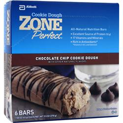 ZONE PERFECT Cookie Dough Nutrition Bar Chocolate Chip 6 bars