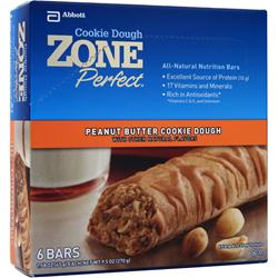 ZONE PERFECT Cookie Dough Nutrition Bar Peanut Butter 6 bars