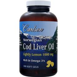 CARLSON Norwegian Cod Liver Oil (1000mg) Lightly Lemon 300 sgels