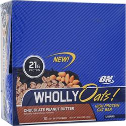 OPTIMUM NUTRITION WhollyOats! Bar Chocolate Peanut Butter 12 bars