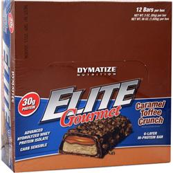 DYMATIZE NUTRITION Elite Gourmet Protein Bar Caramel Toffee Crunch 12 bars