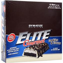 Dymatize Nutrition Elite Gourmet Protein Bar Cookies & Cream 12 bars