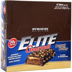 DYMATIZE NUTRITION Elite Gourmet Protein Bar Peanut Butter 12 bars