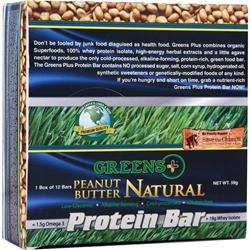 GREENS PLUS High Protein Food Bar Natural Peanut Butter 12 bars