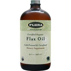 Flora Certified Organic Flax Oil - Cold Pressed & Unrefined 32 fl.oz
