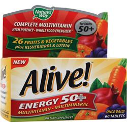 Nature's Way Alive Energy 50+ Multivitamin - Multimineral Caffeine-Free 60 tabs
