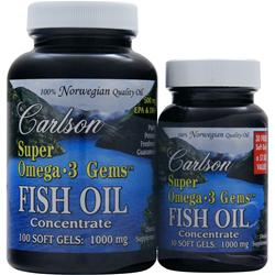 CARLSON Super Omega-3 Gems - Fish Oil Concentrate (1000mg) 130 sgels