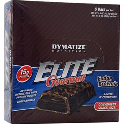 DYMATIZE NUTRITION Elite Gourmet Protein Bar - Snack-Size Fudge Brownie 6 bars