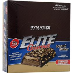 DYMATIZE NUTRITION Elite Gourmet Protein Bar - Snack-Size Peanut Butter 6 bars