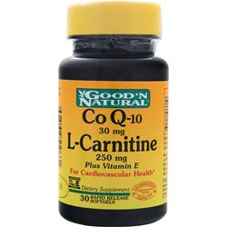 GOOD 'N NATURAL Co Q-10 (30mg) L-Carnitine (250mg) plus Vitamin E 30 sgels