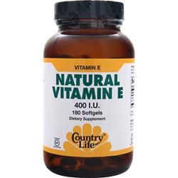 Country Life Natural Vitamin E (400IU) 180 sgels