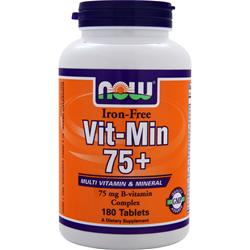 NOW Vit-Min 75+ Iron-Free 180 tabs