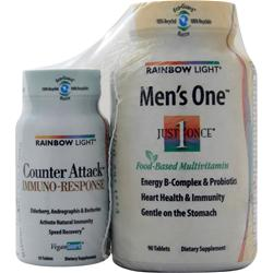 Rainbow Light Just Once Men's One Multi + Counter Attack Trial Sz 90 tabs