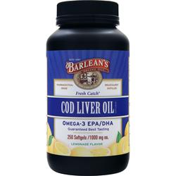 Barlean's Cod Liver Oil (1000mg) Lemonade 250 sgels