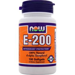 NOW E-200 d-alpha Tocopheryl 100 sgels