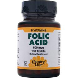 COUNTRY LIFE Folic Acid (800mcg) 100 tabs