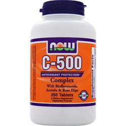 NOW C-500 With Bioflavanoids, Acerola & Rose Hips 250 tabs