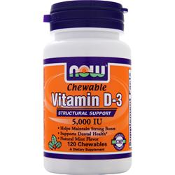 NOW Chewable Vitamin D-3 (5000IU) Mint 120 chews