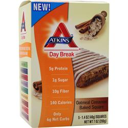 ATKINS Day Break Bar Oatmeal Cinn Baked Square 5 bars