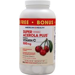 American Health Super Acerola Plus Natural Vitamin Chewable (500mg) 300 wafrs