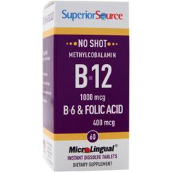 Superior Source No Shot Methylcobalamin B12 (1000mcg) + B6 & Folic Acid (400mcg) 60 tabs