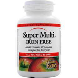 NATURAL FACTORS Super Multi - Iron Free 90 tabs