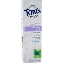 Tom's Of Maine Whole Care Toothpaste Spearmint 4.7 oz