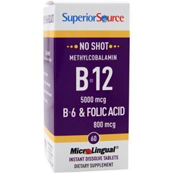 SUPERIOR SOURCE No Shot Methylcobalamin B12 (5000mcg) + B6 & Folic Acid (800mcg) 60 tabs