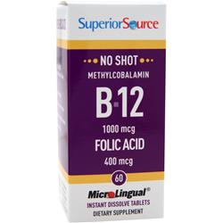 SUPERIOR SOURCE No Shot Methylcobalamin B12 (1000mcg) + Folic Acid (400mcg) 60 tabs