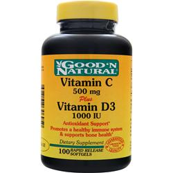 Good 'N Natural Vitamin C (500mg) plus Vitamin D3 (1000IU) 100 sgels
