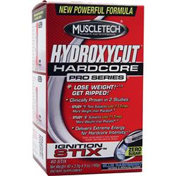 MUSCLETECH Hydroxycut Hardcore Pro Series Ignition Stix Blue Raspberry 40 pckts