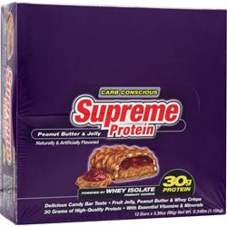 SUPREME PROTEIN Supreme Protein Bar - Carb Conscious Peanut Butter and Jelly 12 bars