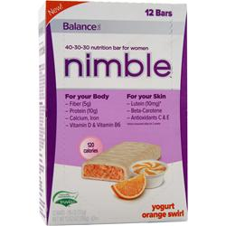 BALANCE BAR Nimble - Nutrition Bar for Women Yogurt Orange Swirl 12 bars