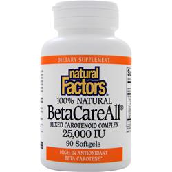 NATURAL FACTORS BetaCareAll Mixed Carotenoid Complex (25000IU) 90 sgels