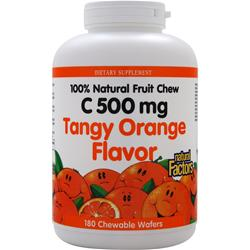 NATURAL FACTORS 100% Natural Fruit Chew C (500mg) Tangy Orange 180 wafrs