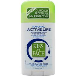 KISS MY FACE Active Life Deodorant Fragrance Free 2.48 oz